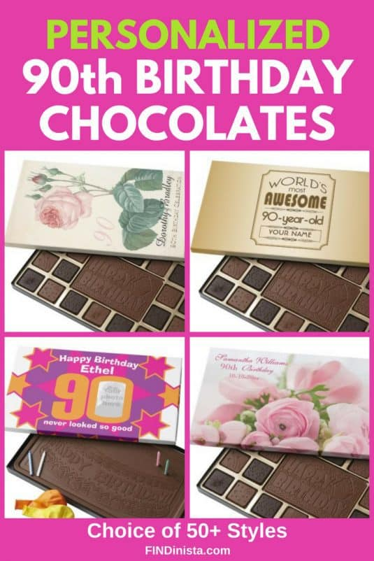 90th Birthday Gift Ideas - Skip the traditional birthday chocolates! Celebrate a man or woman who is turning 90 with a personalized box of chocolates designed just for them. #birthday #gift #gifts #giftideas #present #90Birthday #FINDinista.com