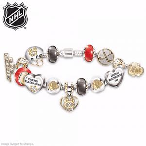 Blackhawks Swarovski Charm bracelet is a stylish gift for the #1 fan!