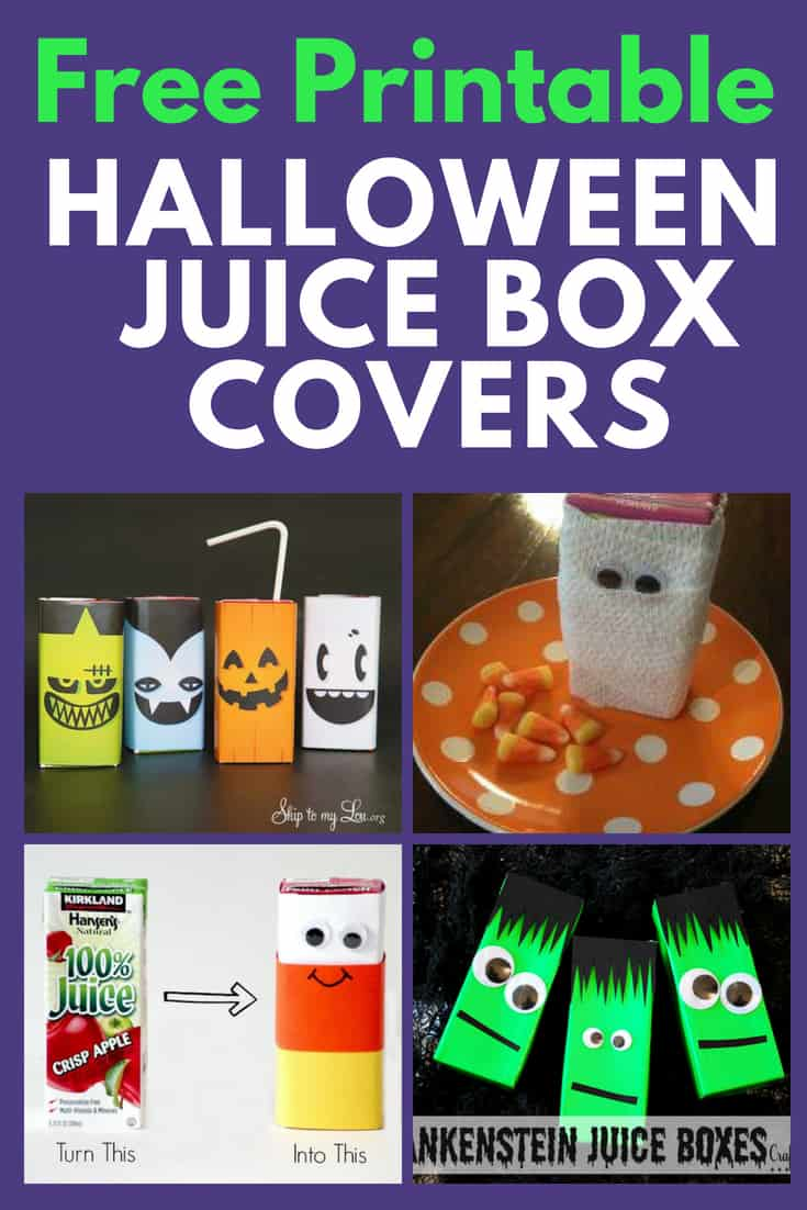 Halloween Juice Box Covers - Looking for a healthy but fun Halloween treat? Deck out juice boxes in an adorable Halloween juice box cover. Click for ideas and free Halloween printables!