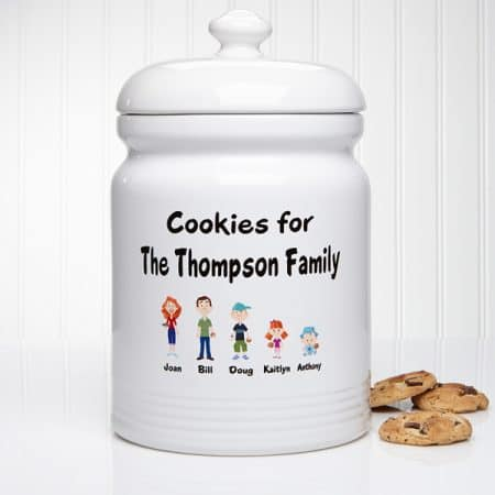 Personalized family character cookie jar is a gift the whole family can enjoy!