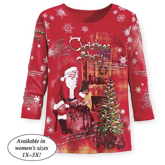 Love this cheerful red Christmas plus size top that features Santa by the Christmas tree!