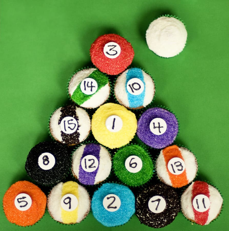 Billiard Ball Cupcakes
