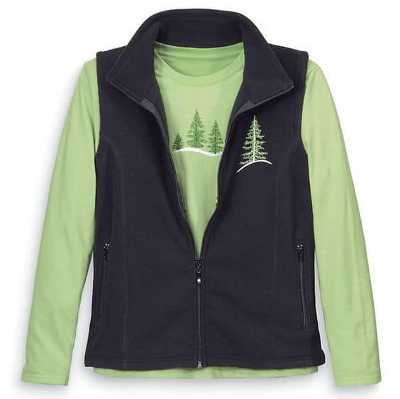 Embroidered plus size Christmas vest and top set is a festive, casual look for the holidays.