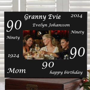 90th Birthday Gifts - Personalized frame is a wonderful way to preserve a favorite picture from any man or woman's 90th birthday party! Click to see more fabulous birthday gifts for anyone turning 90.