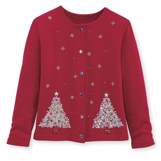 Sparkly Christmas tree plus size holiday cardigan is perfect for either casual or formal outings.