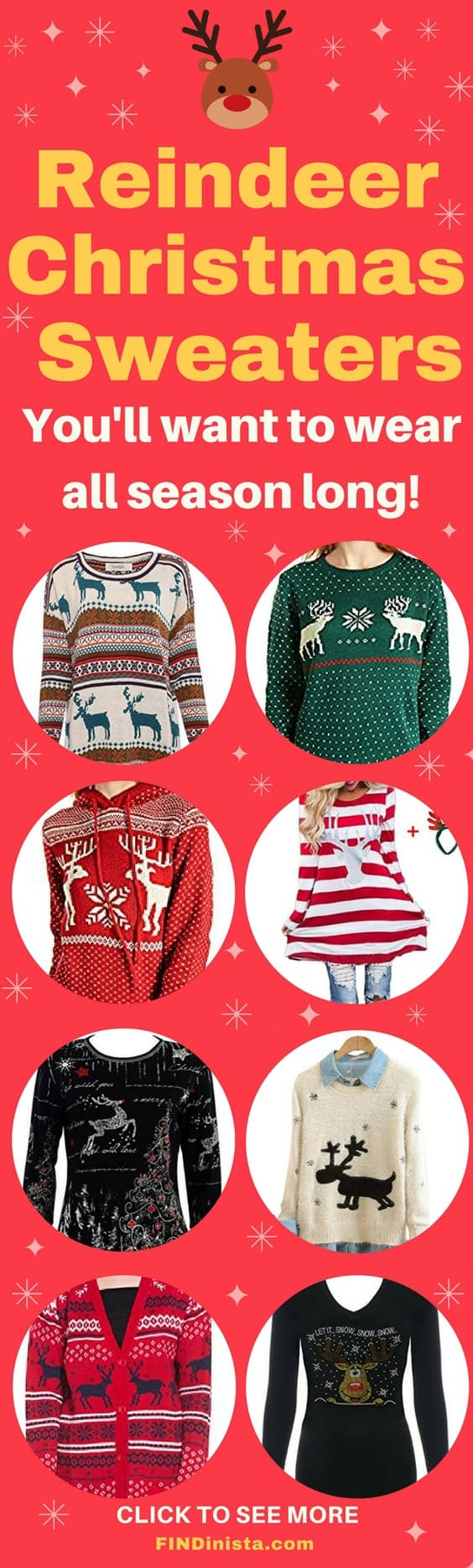 How adorable are these cute reindeer Christmas sweaters for women? Fun and festive - the perfect look for the holidays. Click to see a fabulous selection of cute Christmas sweaters. #ChristmasFashion