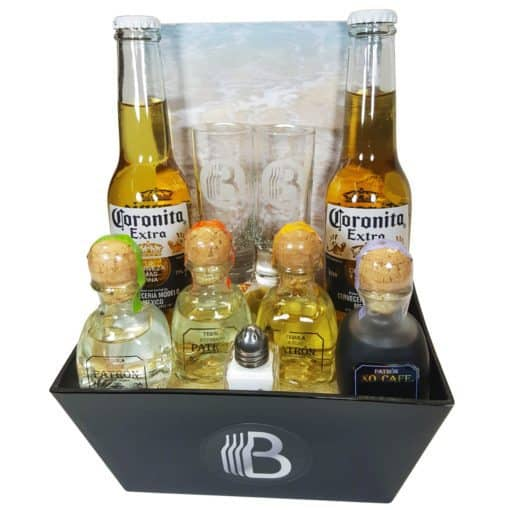 Impress your favorite tequila lover with this striking tequila gift basket! Awesome gift basket includes four bottles of high-end Patron tequilas and other fun tequila based gifts.