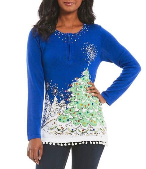 Elegant Christmas sweaters for women - Love this sparkly sequined Christmas tree sweater by Berek! Bright blue color stands out among the red and green holiday sweaters.