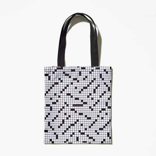 Your favorite cruciverbalist (no, I didn't make that up) needs something to carry his puzzles, dictionary and pens or pencils around in.  This striking tote from the New York Times fits the bill perfectly