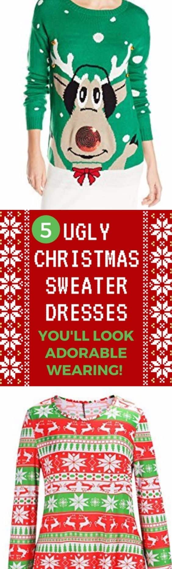 Look cute – and show off your holiday spirit – with an ugly Christmas sweater dress! It's a festive look that you'll find loads of use for during December…perfect for the holiday office party, a Tacky Xmas party, or any seasonal gathering. These outfits much cuter and more stylish than just normal pullovers!