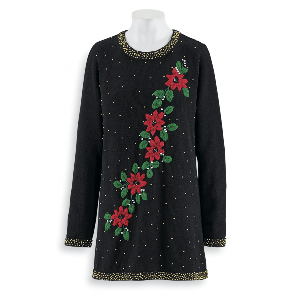 Looking for a dressy Christmas sweater? This elegant poinsettia themed holiday sweater is a dressy look that's perfect for a Christmas party or other fun evening out!
