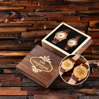Personalized His and Hers Bamboo Watch Set
