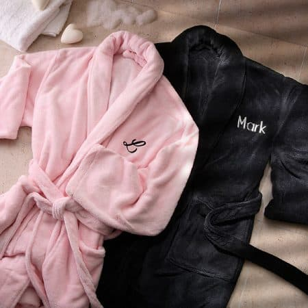 Pamper your favorite couple with these super-soft, snuggly personalized fleece robes! Perfect for relaxing in on the weekends or after a hard day at work.