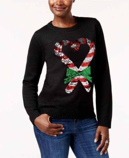 Adorable Christmas sweater features 2 sequined candy canes that form a heart shape...such a fun look for the holidays! Also available in plus sizes.