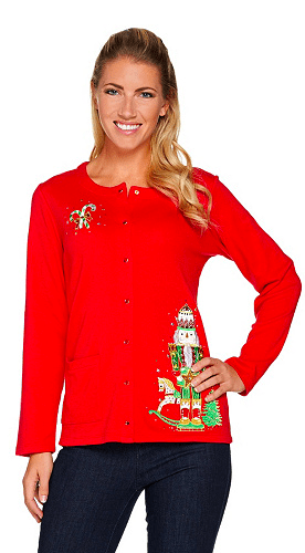 Long Sleep Plus Size Christmas Cardigan - adorable cardigan features a festive Nutcracker design. Sequins add just the right amount of sparkle!