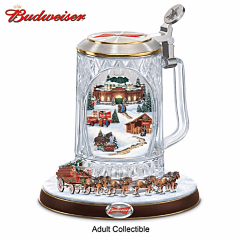 Looking for a unique Christmas gift for the beer lover that has everything?  Surprise him with the Budweiser holiday cheers stein with lights, a moving train, and music.