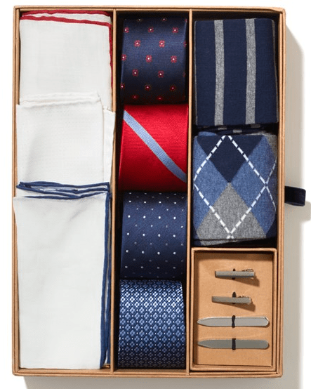 One box, twenty-nine outfit combinations.  Includes a digital style guide to help him mix and match.