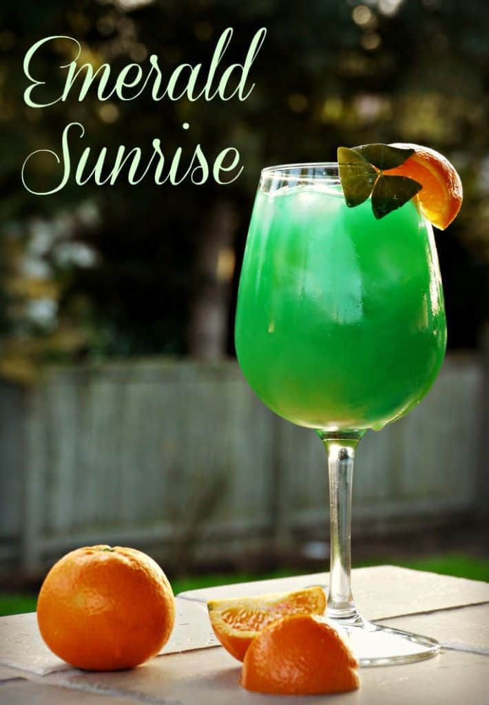 Scrumptious Emerald Sunrise cocktail is the perfect choice for a St. Patrick's drink!