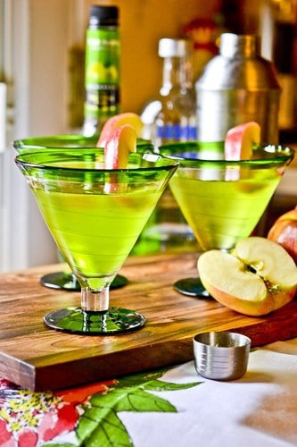 Tart and tangy Irish Appletinis are the perfect cocktail for a festive St. Patrick's Day party!