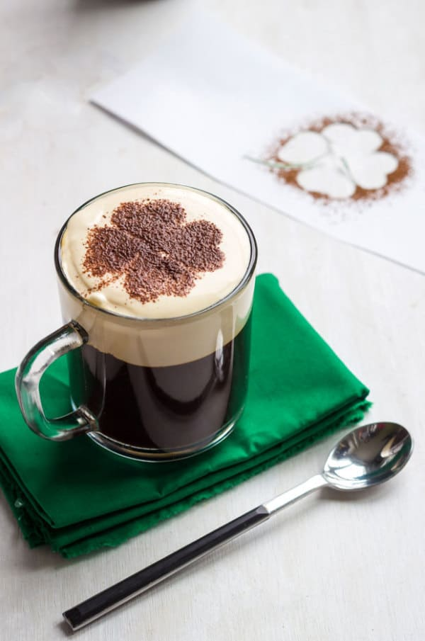 Irish Coffee Recipe - a fabulous after-dinner drink for St. Patrick's Day...or really, just about any day! Love the shamrock decoration on top!