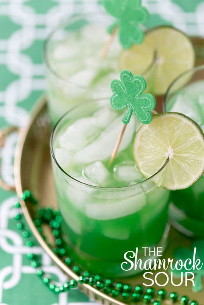 St. Patrick's Day Cocktails - Tart Shamrock sour is the perfect signature cocktail for a festive St. Paddy's Day gathering!