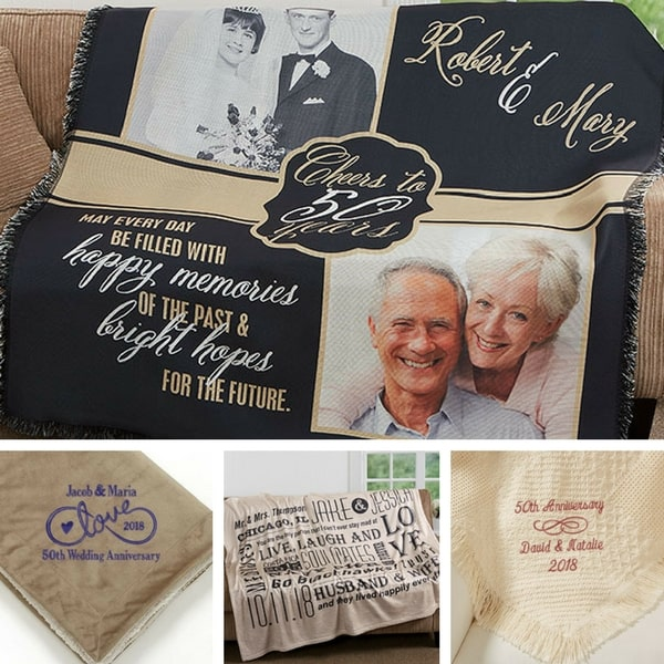 50th wedding anniversary gifts - Wrap your favorite couple in love and warmth with a personalized 50th anniversary blanket or throw.