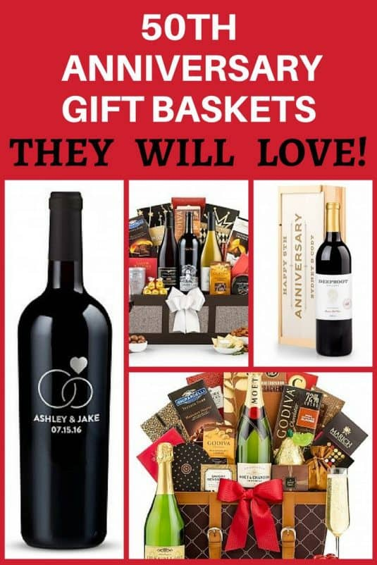 50th Anniversary Gift Baskets - Impress your favorite couple with an elegant gift basket to celebrate their golden anniversary!