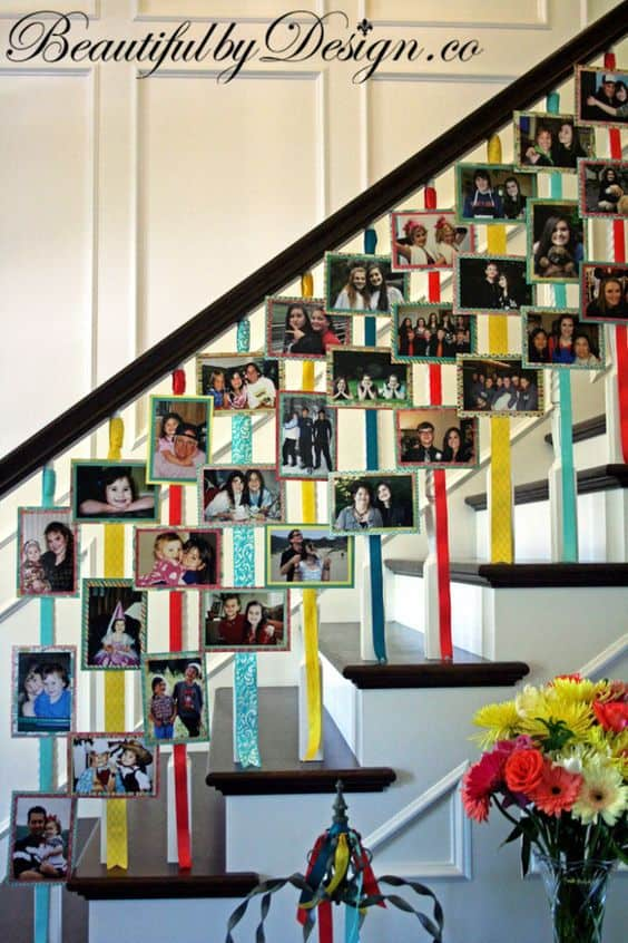 DIY Graduation photo display ideas - This is a wonderful way to display pictures of the grad on a staircase!