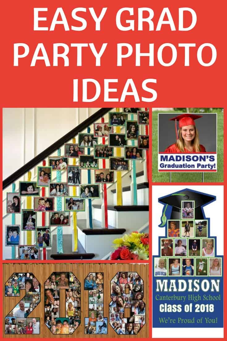 Grad Party photo ideas...looking for easy but impressive ways to display pictures at your graduation party? Check out these brilliant display ideas!