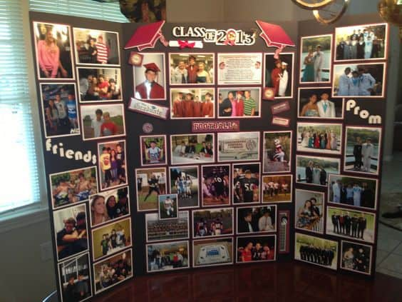 Homemade Graduation Display Board Ideas - A clever way to display pictures using a tri-fold board.