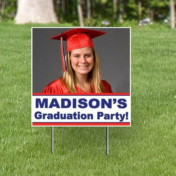 Mark the way to your grad party with a festive graduation party photo yard sign!