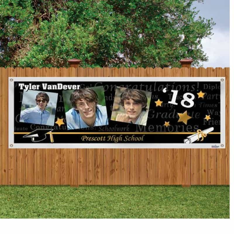 Graduation Photo Banner - colorful photo banner is an easy yet impressive decoration for any grad party!