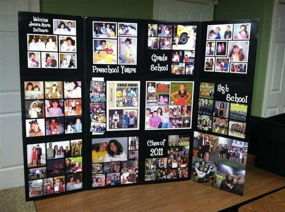 Homemade Graduation Photo Display Board - Love the way they've showcased the graduate at different ages!