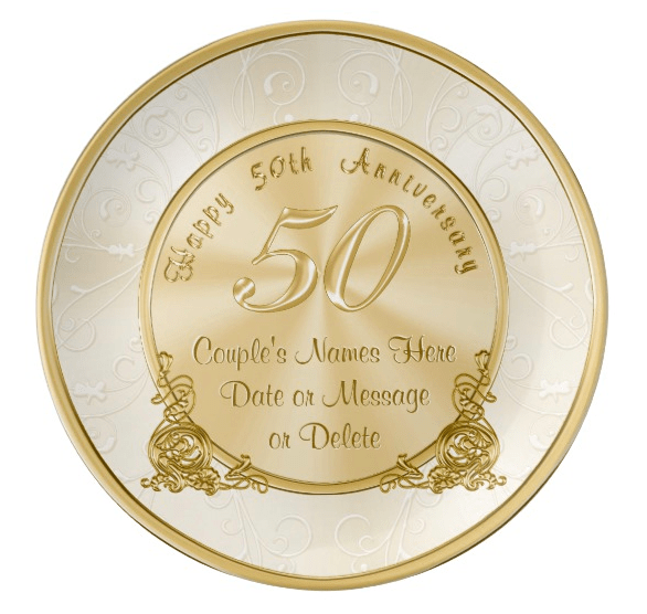 Commemorate a milestone anniversary with a personalized plate...a thoughtful gift that the couple will love displaying on their wall or in the china cabinet.