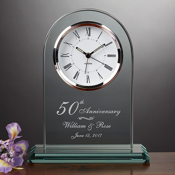 Elegant personalized clock is a marvelous present for any milestone anniversary!