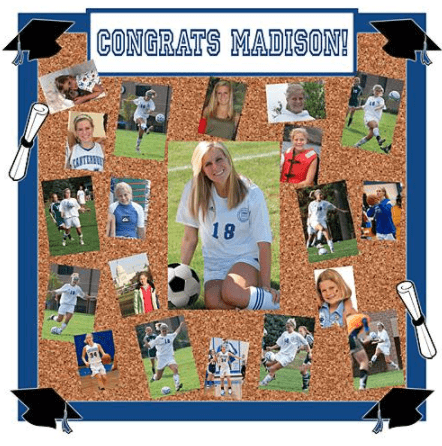 Tabletop Graduation Party Photo Display board - perfect for showing off your favorite pictures at a graduation party!  Free-standing board looks great on a table with mementos from school days.