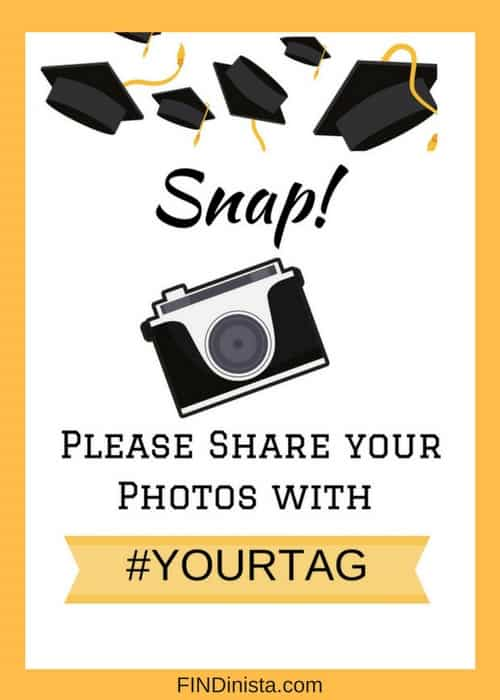 Free Graduation Party Printables - encourage your guests to share their photos with this cute party sign that you can print for free! #graduationparty #graduationpartyideas #graduation