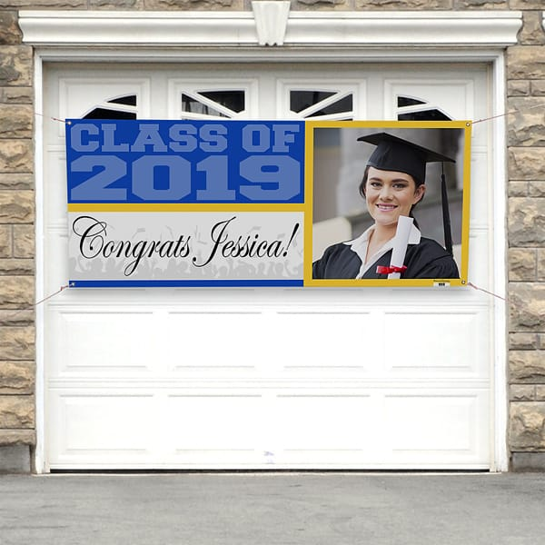 Graduation Party Garage Door Banner - Welcome guests to your high school or college grad party with a stunning photo banner on your garage or fence!