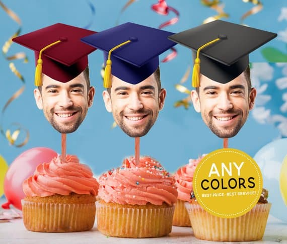 Graduation Cap Photo Cupcake Toppers - These fun cupcake toppers are sure to be the hit of your party! Click for ordering details. #FINDinista.com #graduationparty