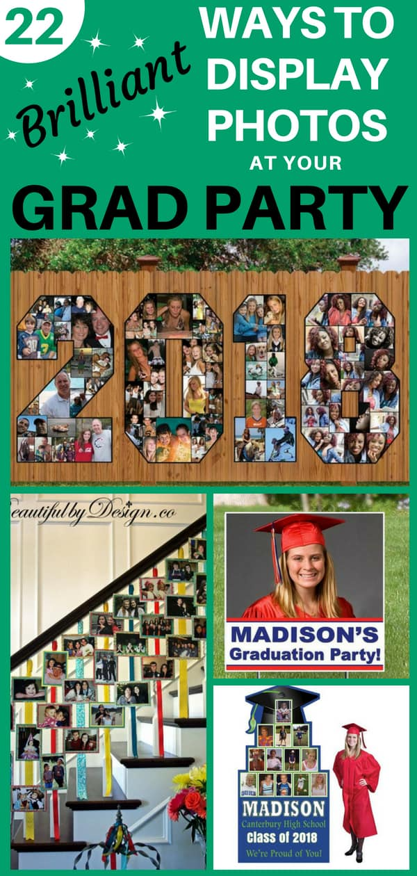 How to display photos at a grad party: Looking for easy but impressive ways to display pictures at your graduation party? Click to see 22 brilliant grad party photo display ideas!