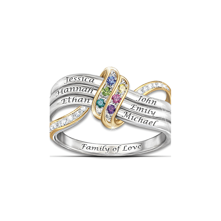 Customized Family Of Love Personalized Ring 70th Birthday Gift Ideas For Her
