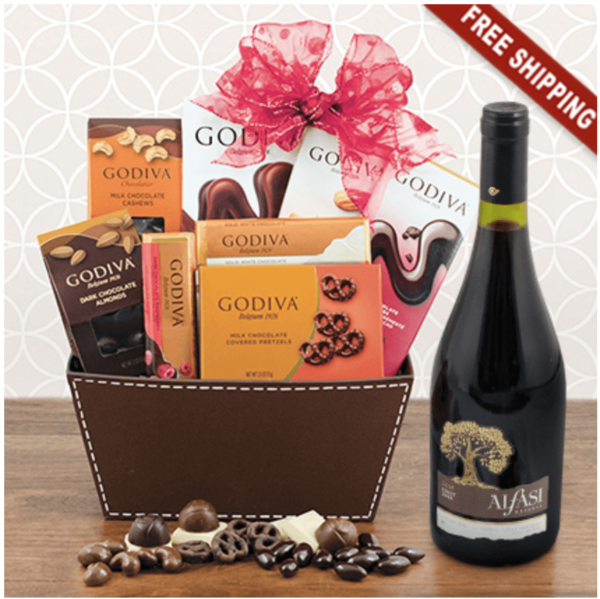 red wine and chocolate gift basket perfect 70th birthday gift for wine and chocolate lovers - 70th birthday present ideas for her