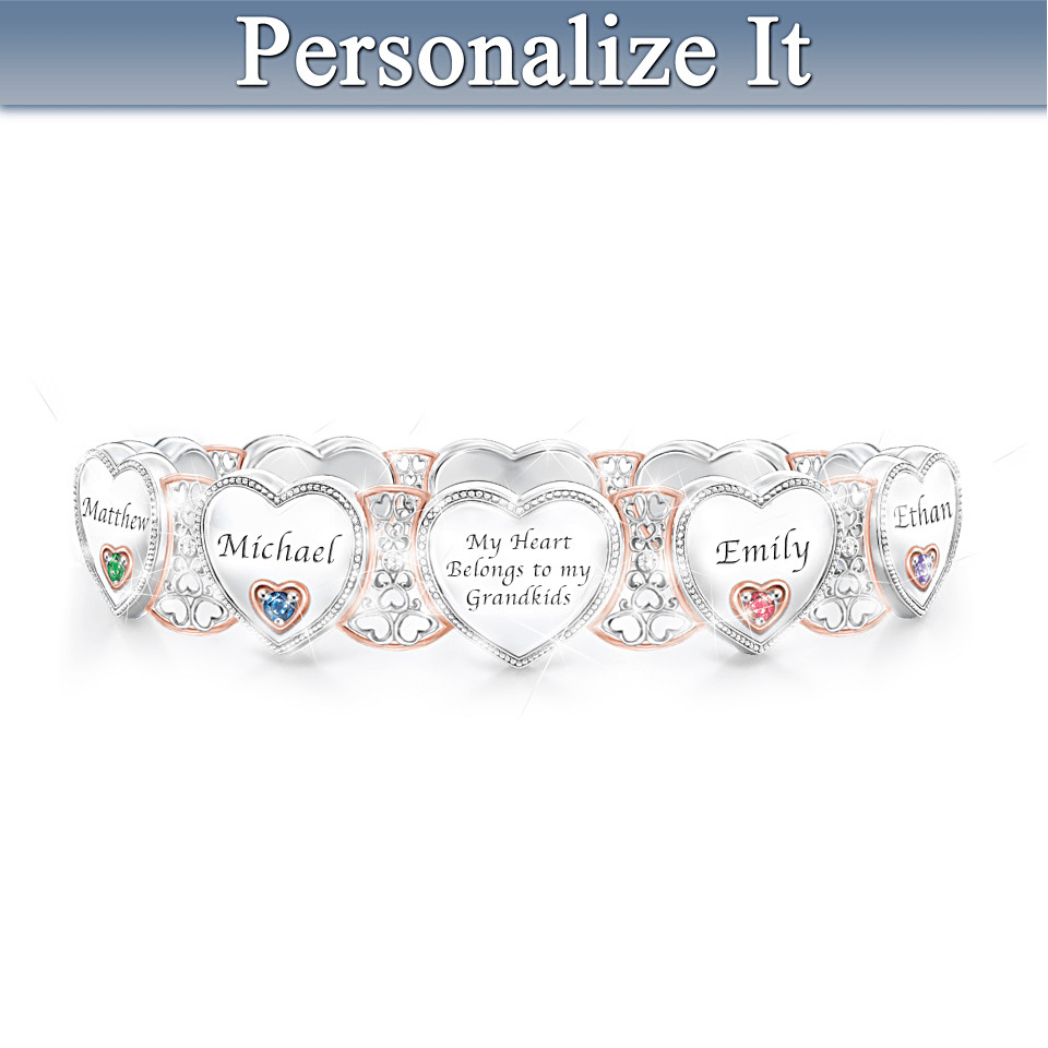 My Heart Belongs to my Grandkids bracelet great mother's day gift for Grandmas
