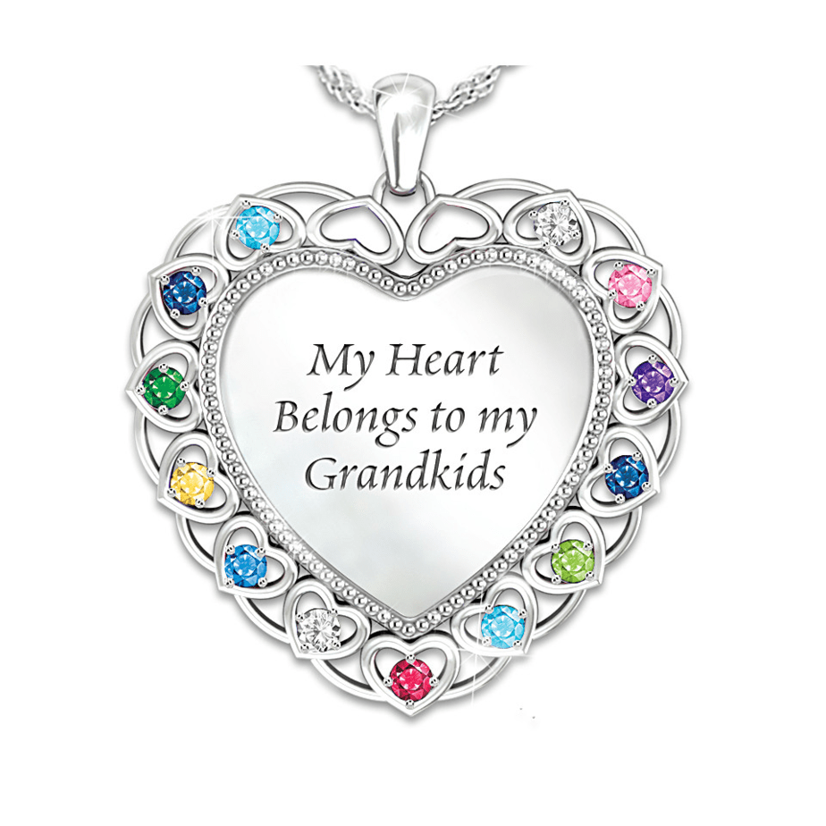 personalized my heart belongs to the grandkids necklace great gift for mother's day for grandmother's