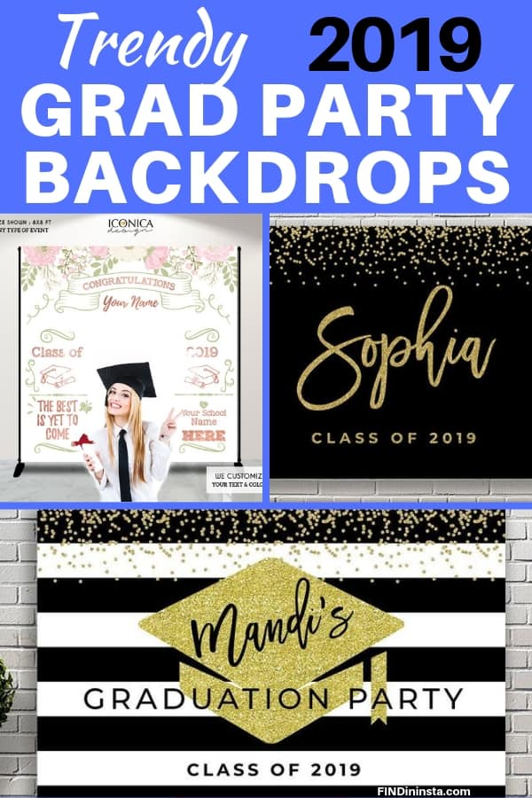 2019 Grad Party Backdrops - Impress your guests with a personalized oversized backdrop at your son's or daughter's graduation party! Perfect for the grad party photo booth, memory board, or as a backdrop to your dessert or food table. #FINDinista #gradparty
