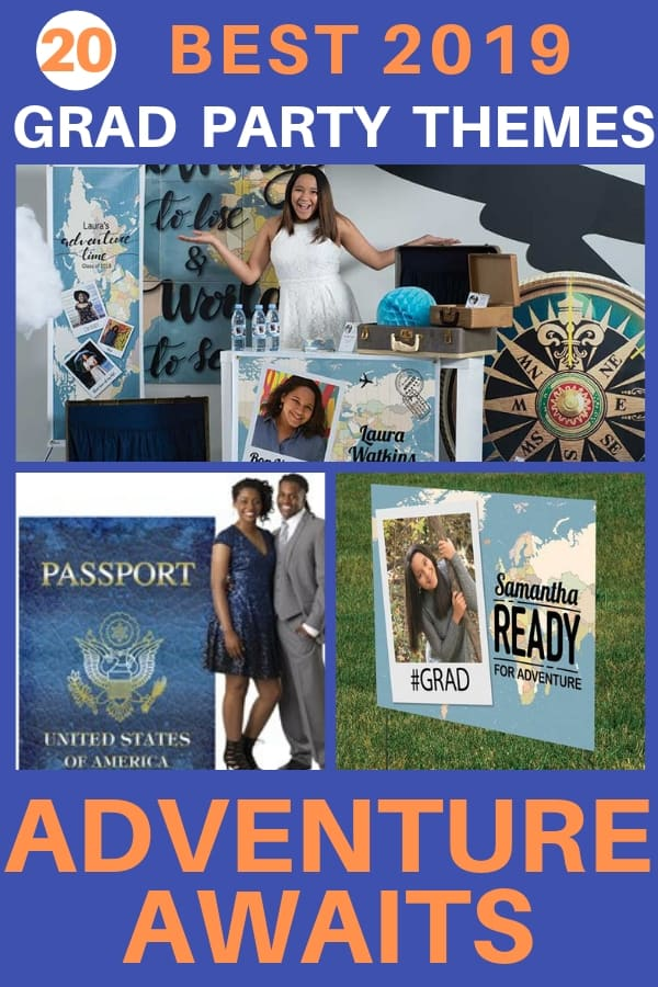 "Grad Party Themes 2019 - Looking for unique graduation party ideas and decorations?  Clever ""Adventure Awaits"" theme is perfect for the grad who is off on an exciting adventure!  #FINDinista #gradparty"