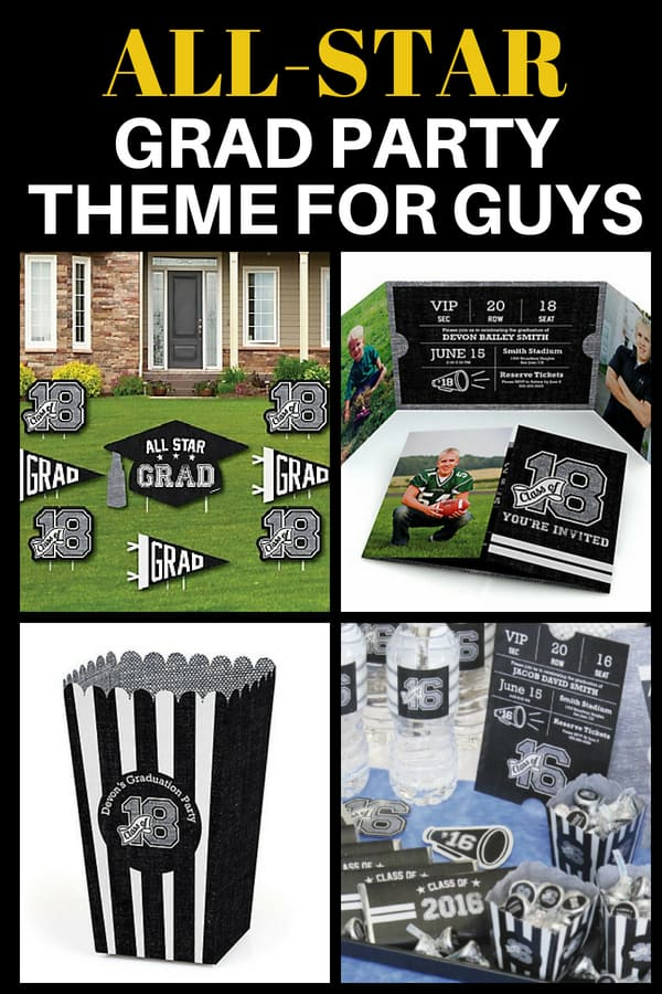Grad Party Themes for Guys - Was your son the team star in high school? Then celebrate his accomplishments with this fun sports-inspired graduation party theme! Click for details.