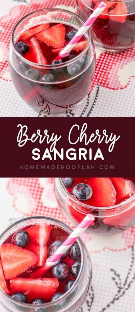 Berry Cherry Red Wine Sangria Recipe - Looking for a refreshing red wine sangria recipe?  This scrumptious sangria recipe combines ripe summery fruit flavors to create a fabulous cocktail for any summer get-together.  Click for details.