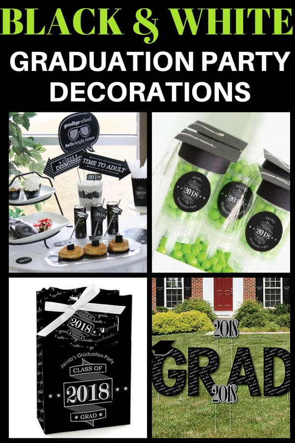 Black and white grad party decorations - Black and white are trendy grad party colors this year! You can easily add a pop of any color to create a unique high school or college graduation party theme. Click for details.