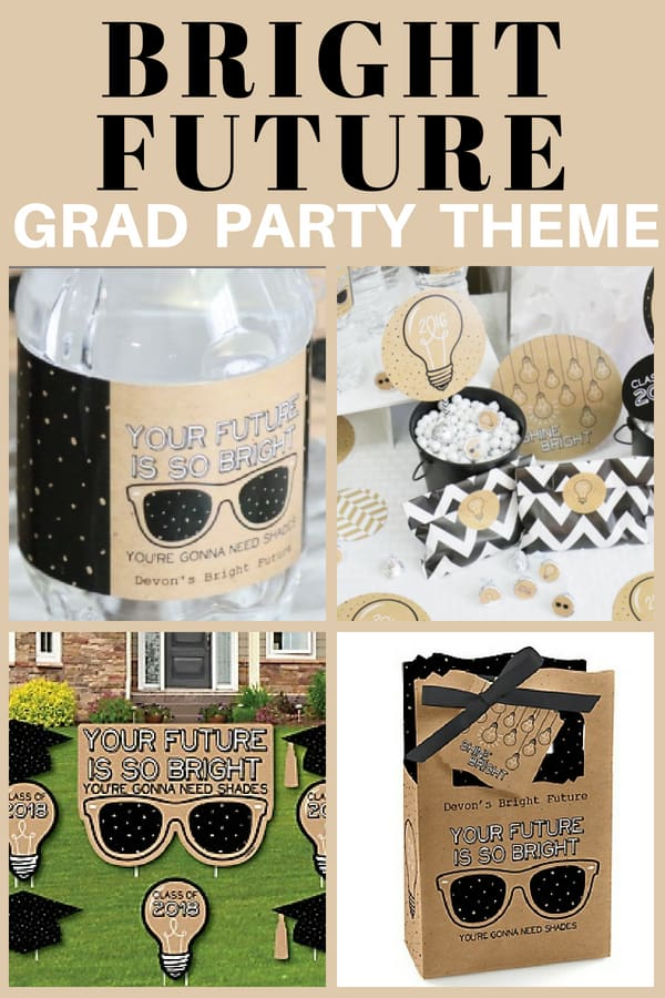 Looking for a funny graduation party theme? Cute Bright Future theme is perfect for a high school or graduation party. Click for details.